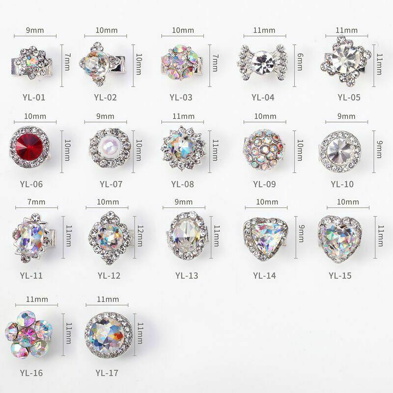 5 pcs Nail Art 3D Crystal Charm Spinner Rhinestone Glitter Manicure DIY Decor
