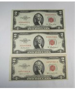 1953 $2 Two Dollar Red Seal US Notes Nice Condition Lot of 3 53, 53A, 53... - $27.99