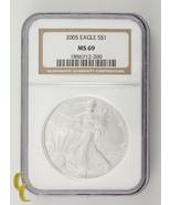 2005 Silber 1 oz American Eagle NGC Ausgewählten MS69 - $49.48