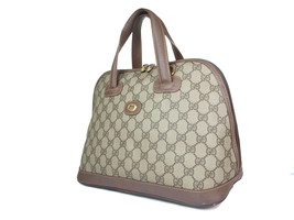 GUCCI Vintage GG Pattern PVC Canvas Leather Browns Hand Bag GH18015L - $298.00