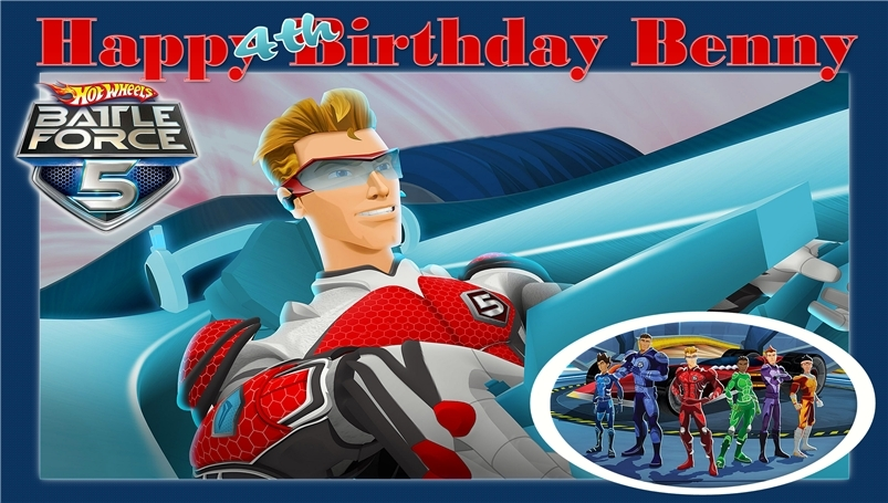 Hotwheels Battleforce 5 -Personalized- Custom Birthday Banner Party Decoration