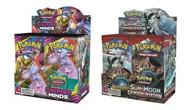 Pokemon TCG Sun & Moon Unified Minds + Cirmson Invasion Booster Box Bundle
