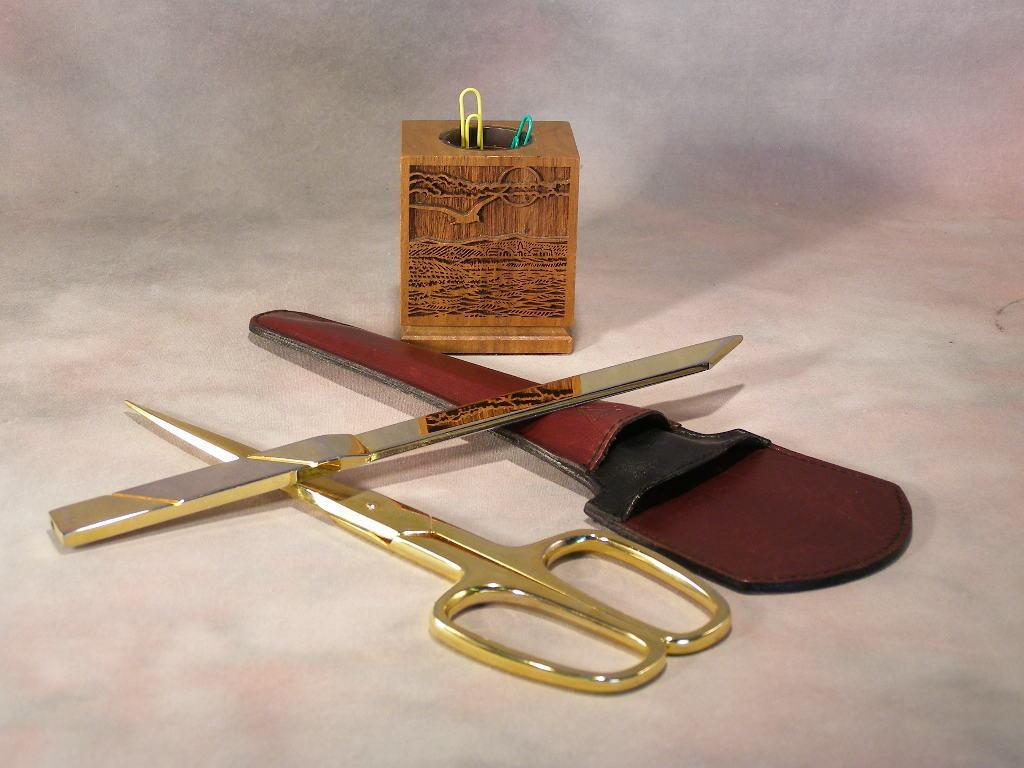 Vintage Paper Clip Holder - Scissors & Letter Opener  (sku# 1705)
