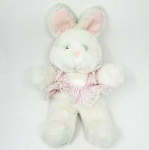 "16"" Vintage Enesco White Bunny Rabbit Pink Dress Stuffed Animal Plush Toy Lovey - $26.65"