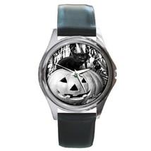 Halloween Black Cat On Pumpkin SIL-TONE Watch 6 Oth Stl - $25.99
