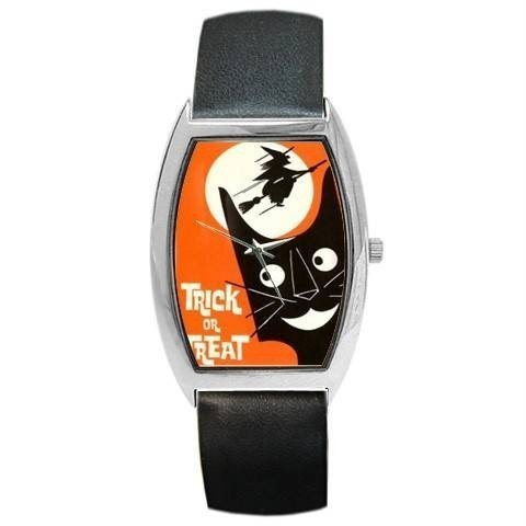 HALLOWEEN BLK CAT WITCH MOON FUNNY BARREL OR CHM WATCH