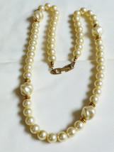 "Vtg N API Er Gold Tone Beaded White Pearl Faux 25""L Necklace - $19.80"