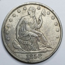 1858 Seated Liberty US Silver Half Dollar Coin Lot 519-122