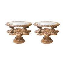 Vintage Venetian Baroque Round Glass Top End Gilded Tables-A Pair - $2,695.00