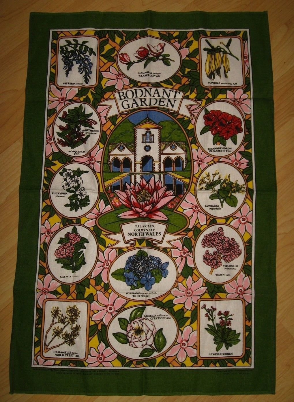Bodnant Garden Souvenir Tea Towel - Vintage Sally Jane Textiles Colwyn Bay Wales