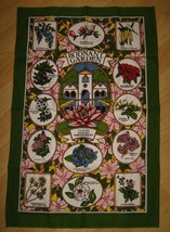 Bodnant Garden Souvenir Tea Towel - Vintage Sally Jane Textiles Colwyn B... - $24.74