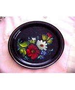 Vintage 80s black RED flowers metal tray RUSSIA... - $17.99