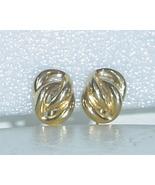 Napier Gold Clip Screw On Earrings Vintage Knot Ear Rings - $7.50