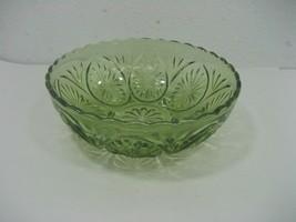Vintage Hazel Atlas Green Glass Serving Bowl Dish Display with Etched De... - $11.26