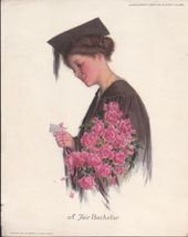 Beautiful Vintage Antique Color Lithographic Pr... - $17.99