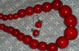 VINTAGE RED BEADED NECKLACE WITH MATCHING EARRINGS  - $22.80