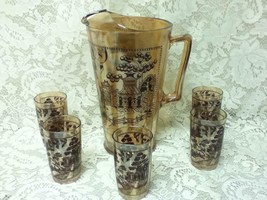 Vintage, 6-pc Set Blue Wilow-Carnival Glass Pitcher- 5Tumblers Juice Set - $142.45