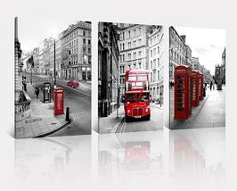 Framed Black White Vintage London Street Bus Canvas Print Wall Art Home ... - $69.90+