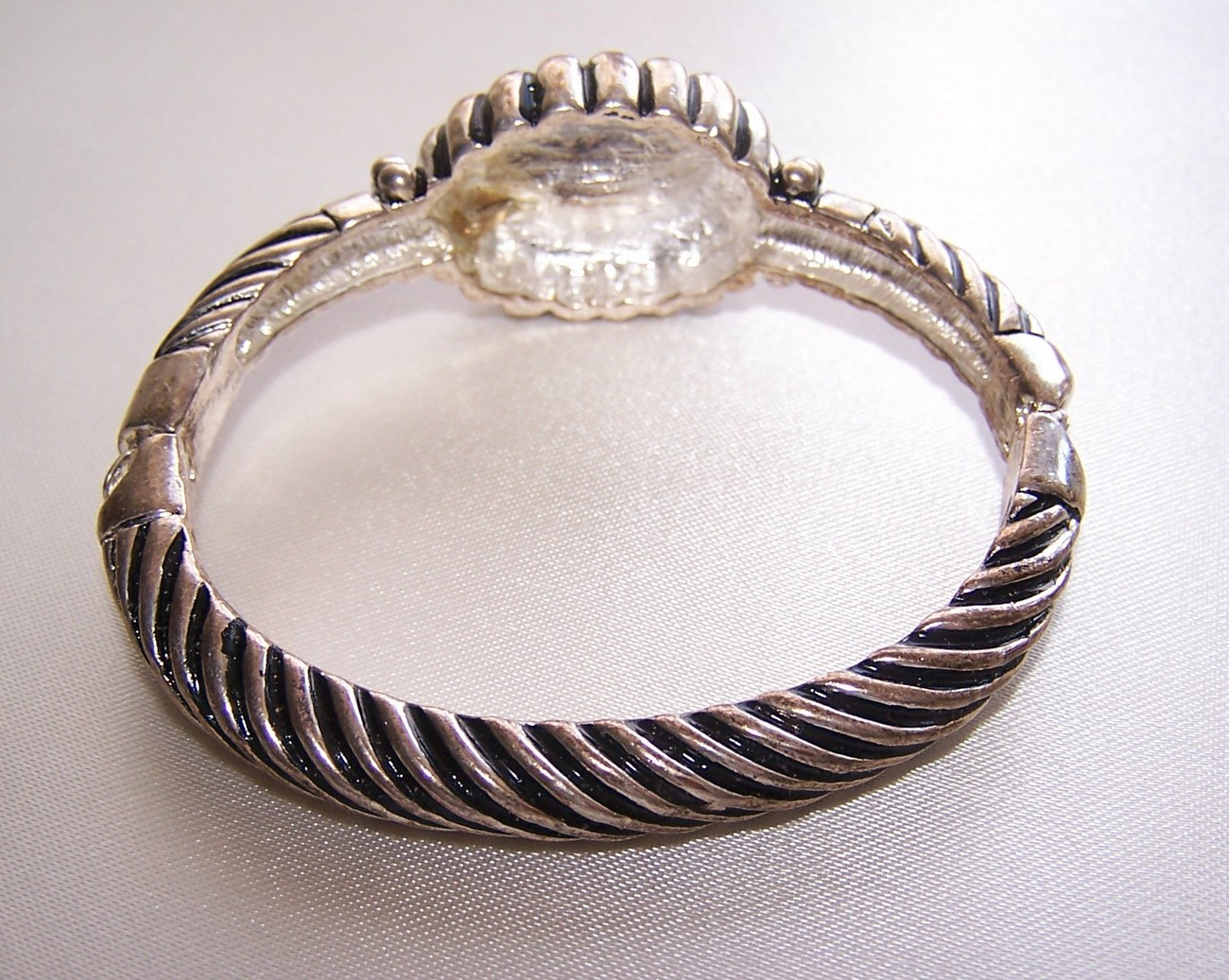 Vintage Faux Turquois, Enamel & Silver Metal Cuff Bracelet