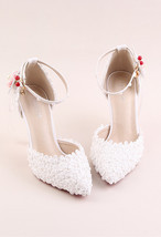 Women Ivory White Lace Ankle Straps Wedding Heels Sandals Shoes US Size ... - £77.71 GBP