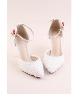 Women Ivory White Lace Ankle Straps Wedding Heels Sandals Shoes US Size ... - €89,95 EUR