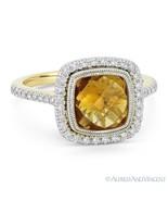 2.61 ct Citrine Gem & Diamond Pave Halo 14k Yellow & White Gold Right-Ha... - $881.09