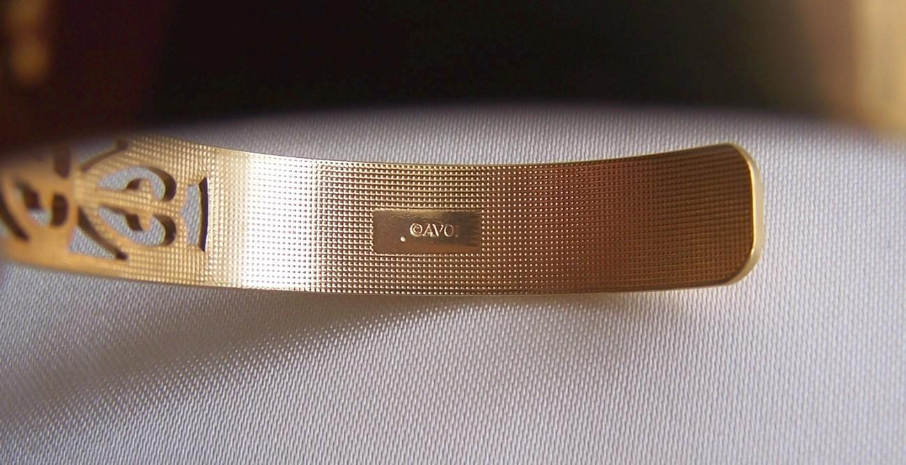 Vintage Avon Faux Opal & Gold Tone Hearts Cuff Bracelet