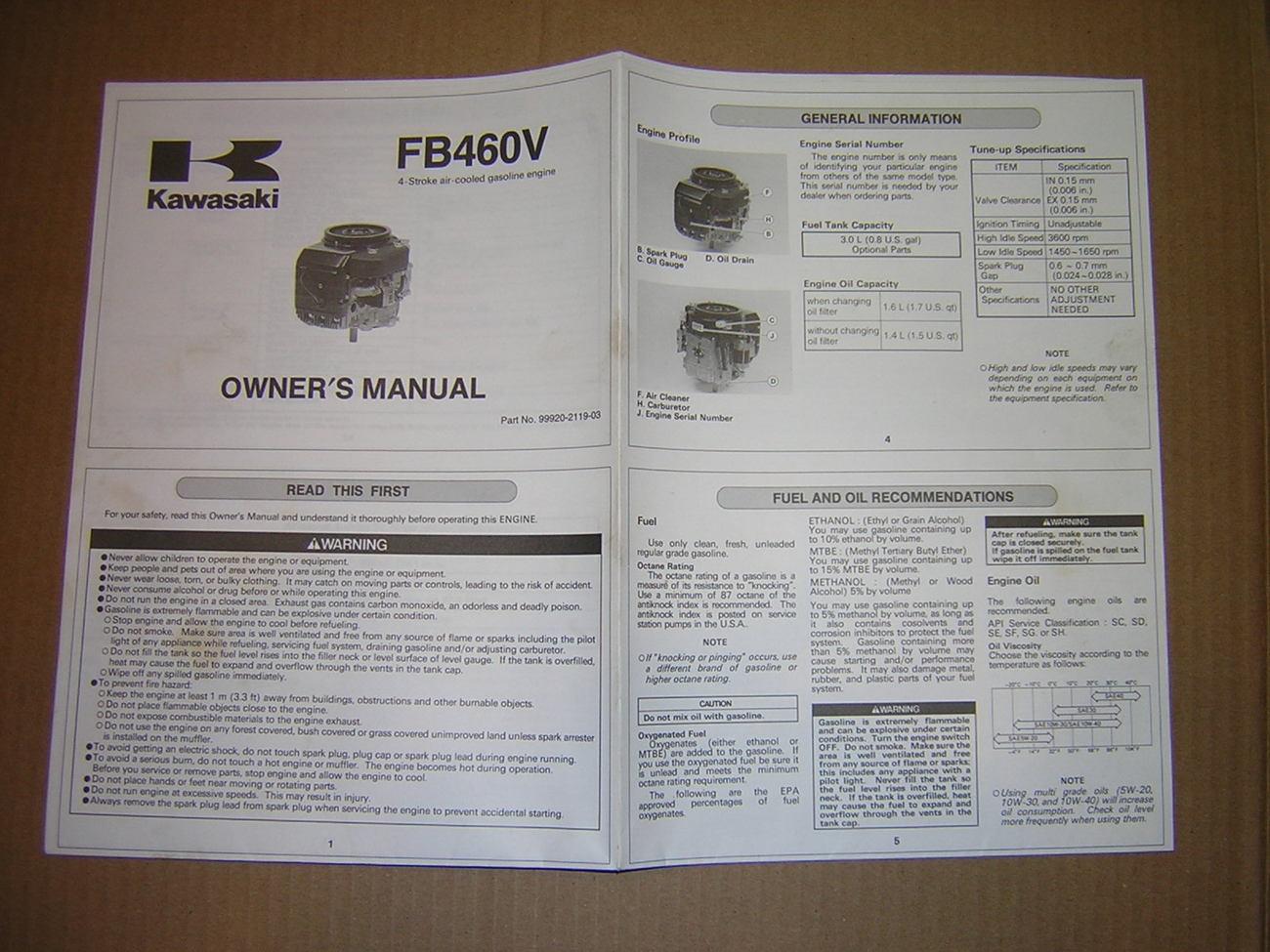 Kawasaki FB460V 4-Stroke Air-Cooled Motor Owner's Manual