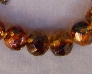 Necklace  Amber  Facet  23 In  Vintage Antique