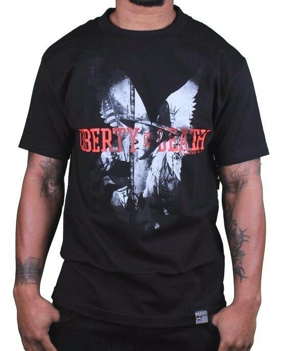 Dissizit Mens Black Liberty or Death Patrick Henry LA Slick T-Shirt USA made NWT