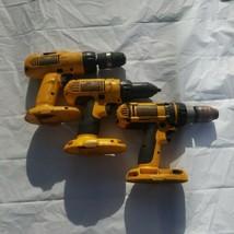 LOT of 3 - Dewalt 18V Volt Drills DC988, DW759, DC958-Parts - $39.59