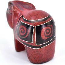 Crafts Caravan Hand Carved Red & Black Soapstone Elephant Figurine Made in Kenya image 3