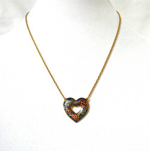 Cloisonne Heart Necklace, Open Heart, Red Floral, Blue Flowers, Asian Ne... - $18.00
