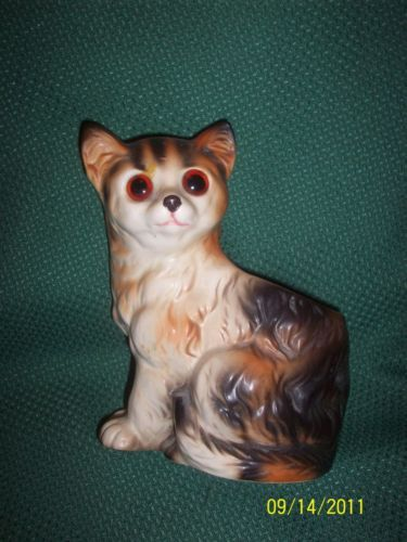 Vintage PARMA Cat Kitten Kitty Figurine Planter Pottery Pot Vase GLASS EYES