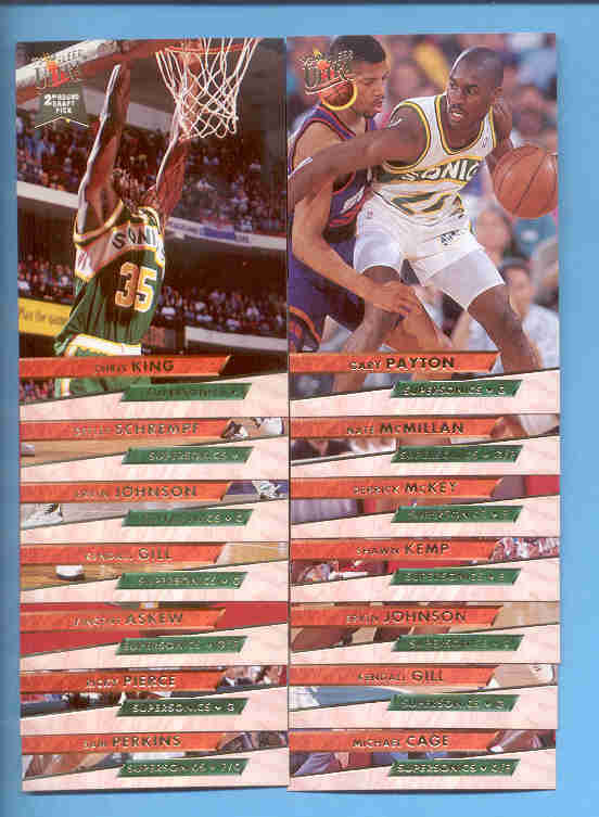 1993/94 Fleer Ultra Seattle Supersonics Basketball Team Set