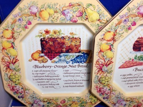Avon Hospitality Recipe Metal Serving Plates 3 Vintage 2 Box England Christmas
