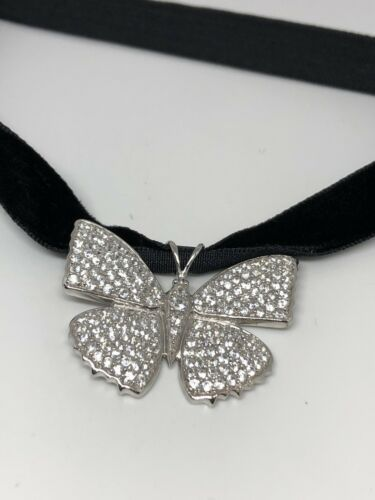 Vintage Genuine 925 Sterling Silver Butterfly Choker Necklace