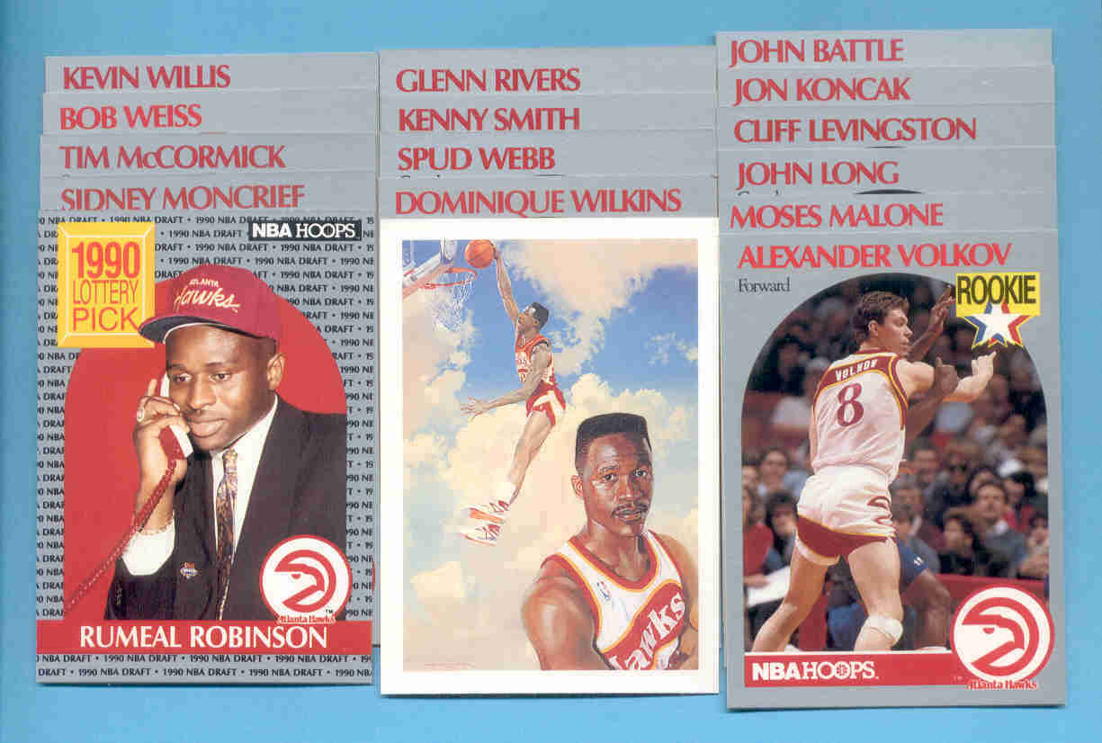 1990/91 Hoops Atlanta Hawks Basketball Team Set