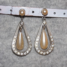 Vintage Glass Pearl Rhinestone Bridal Earrings - $45.00