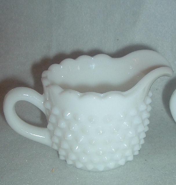 L. E. Smith Glass Hobnail Cream & Sugar Set