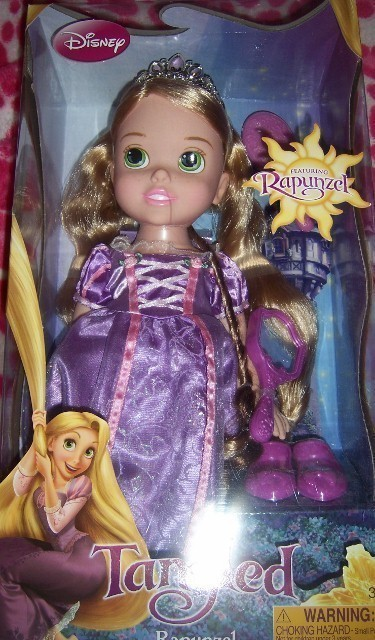 Disney Princess Tangled Rapunzel Toddler Doll Mirror Brush 14 Inch Purple Gown