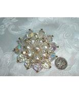 Vintage Brooch  Aurora Borealis Crystal & Faux Pearl - $49.95