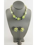 VINTAGE SIGNED VOGUE GREEN YELLOW LAVA ART GLASS & CRYSTAL NECKLACE EARR... - $25.00