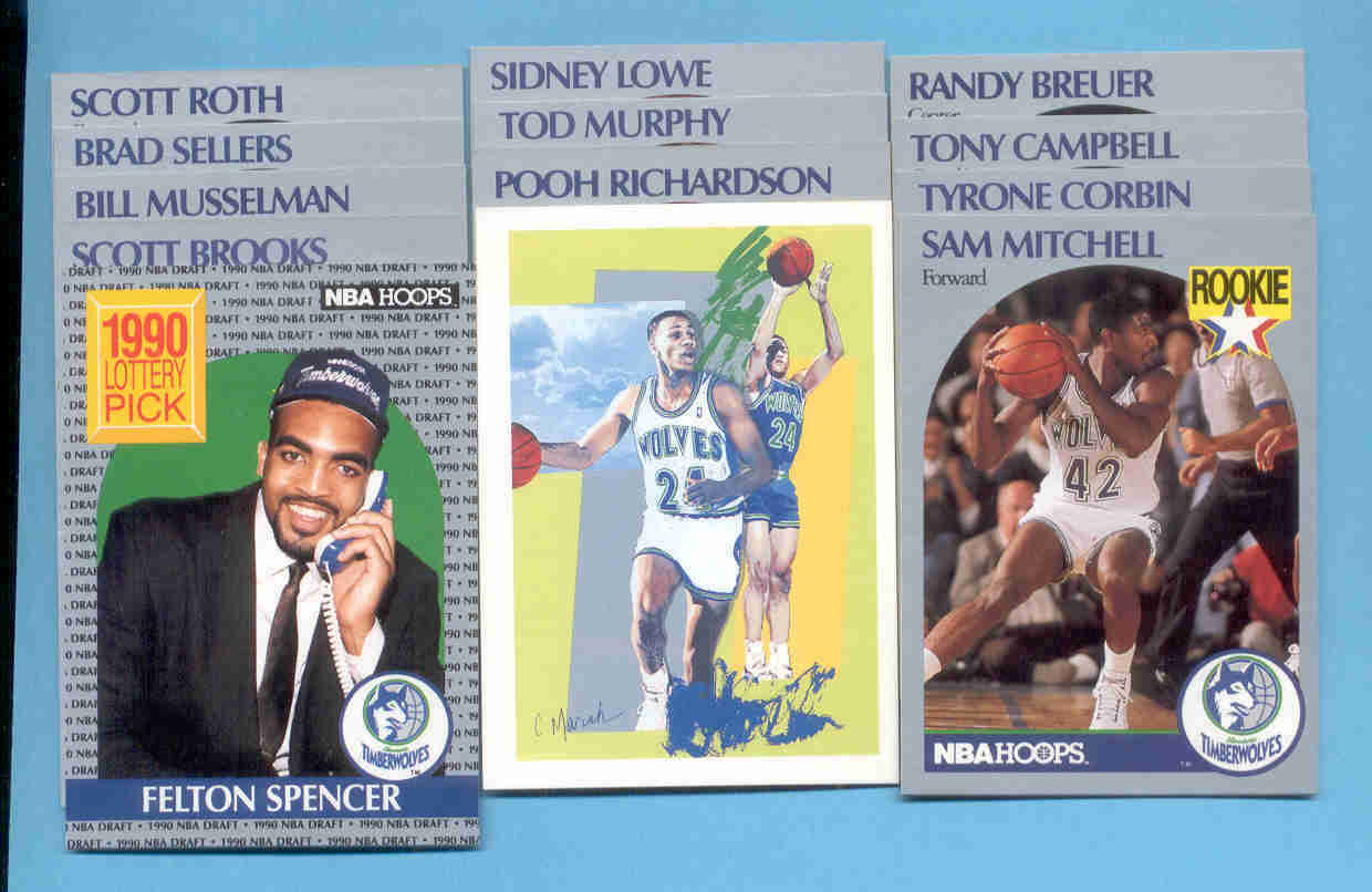 1990/91 Hoops Minnesota Timberwolves Basketball Team Set