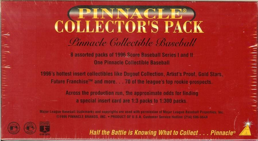 1996 pinnacle collectors pack with baseball very rare 1 special pack