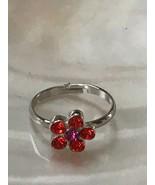 Estate Dainty Cookie Lee Red & Hot Pink Rhinestone Daisy Flower Adjustab... - $9.49