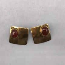 Vintage Ken Gastineau Signed Gold Tone Clip On Earrings Jewelry Mid Century - $48.50