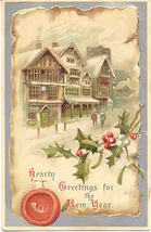 Hearty New Years Greetings Vintage 1907 Post Card - $5.00