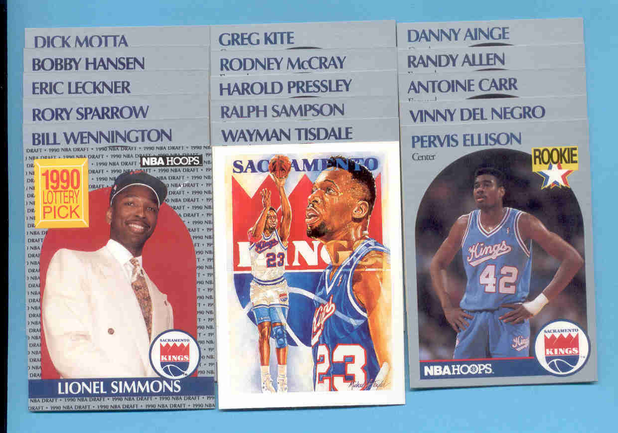 1990/91 Hoops Sacramento Kings Basketball Team Set