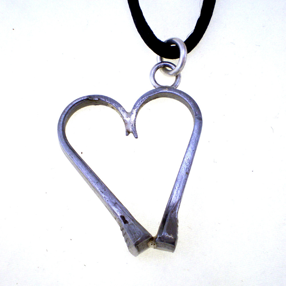 Horseshoe Nail Heart Pendant Necklace